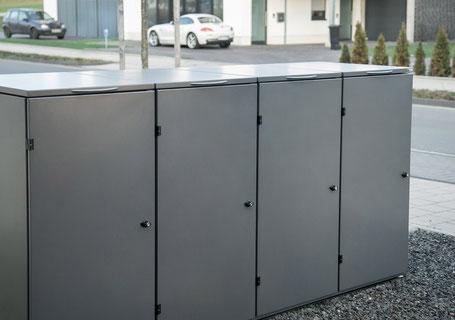 Mülltonnenbox Edelstahl pulverbeschichtet in Farbe DB 703 anthrazit, grau