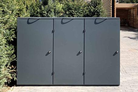 Mülltonnenbox aus Edelstahl in Farbe RAL 7016 anthrazitgrau