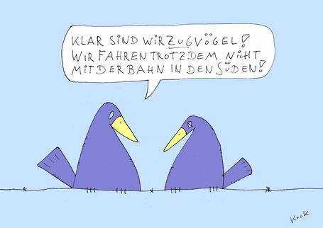 Oliver Kock Cartoon: Zugvogel will Bahn fahren wegen Flugscham