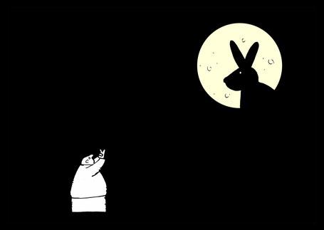 Cartoon Oliver Kock: Mann Schattenspiele im Mond