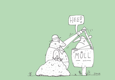 Cartoon Oliver Kock  Flaschensammler trifft Mann in Mülltonne