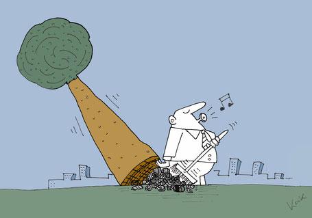 Cartoon Oliver Kock Mann fegt Müll unter einen Baum