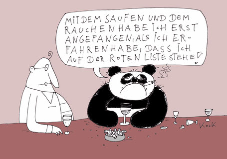 Cartoon Oliver Kock Panda in Bar säuft und raucht