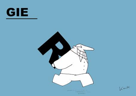 Cartoon von Oliver Kock: Mann klaut das R aus GIER