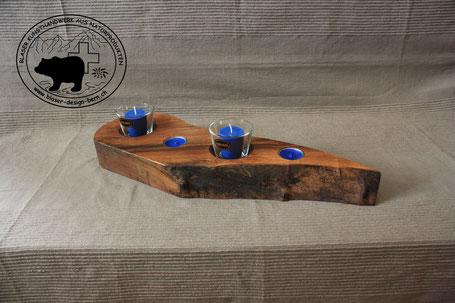 Holz Design Kerzenständer | Designform aus edlem Nussbaumholz | Feuerfeste Glaseinsätze | Designglas