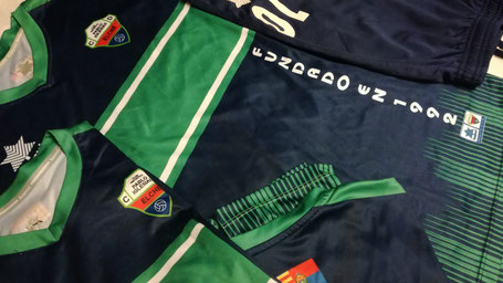 Camiseta de fútbol azul marino con una franja verde en el pecho y dos rayas blancas dentro de esta.
