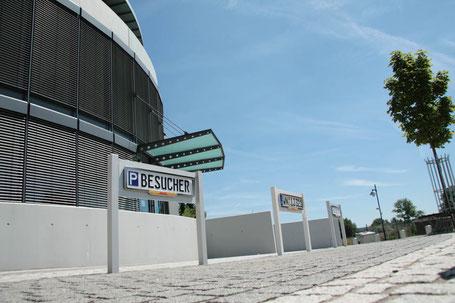 ParkSign construct Parkplatzschild, Parkplatz Schilder aus Edelstahl, Aluminium, Schilder gepraegt, Besucherschild, Kundenschild, Premium, Folierung, Edelstahlrahmen