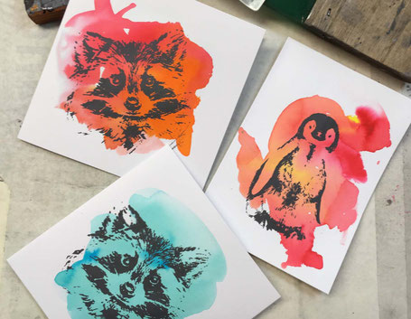 Kindergeburtstag kreativ Siebdruck Bielefeld Sieb & Seele Sieb und Seele Karten drucken  Karten