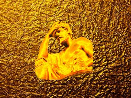 """Dieses Bild zeigt einen antiken Denker auf Goldfolie. er fragt sich: """"Wo liegt Fort Knox und wie kommt man dort hinein?"""""""
