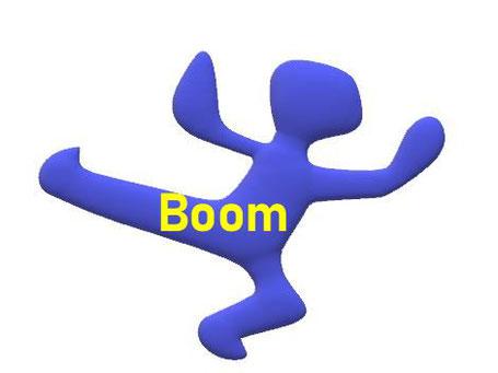 Dieses Bild zeigt eine Figur, die vor Freude hüpft. Sie steht für den Boom, die florierende Wirtschaft.