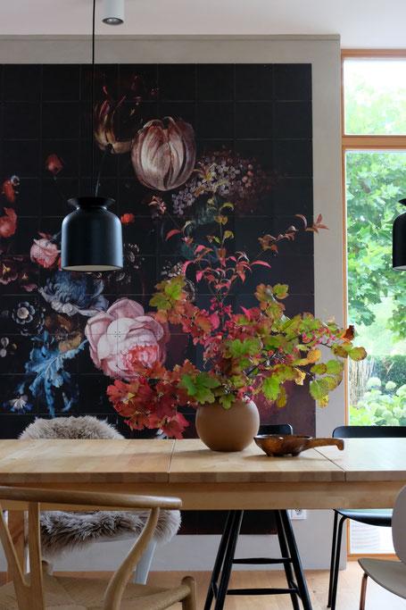 dieartigeBLOG // Esszimmer, Wandbild, IXXI, Herbstlaub, Cooee Vase