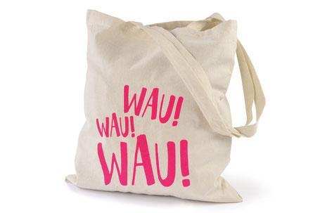 hundestrand Baumwolltasche Jutebeutel Tasche Baumwolle natur pink Hund Spruch Siebdruck