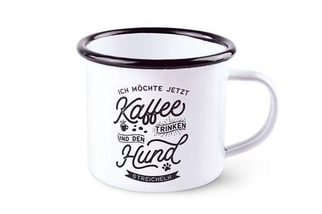 Pfotenschild Hund Emaille Becher Tasse Kaffeetasse Kaffeebecher Kaffeetrinken Dekoration Sprüche