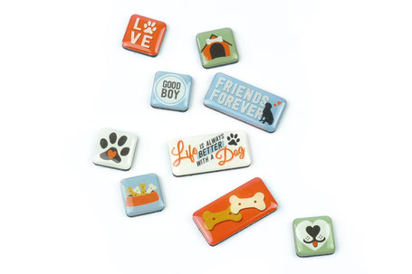 Pfotenschild retro Magnete Set Hund Friends forever Dekoration Srüche