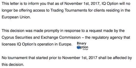 tornei iq option disponibili solo a trader residenti fuori Unione Europea CySEC