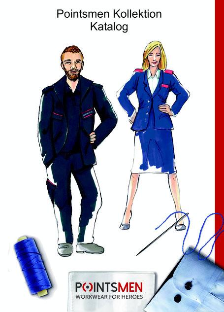 Titelbild Pointsmen Katalog mit einem Mann in Tagesdienstbekleidung und einer Frau in Ausgehuniform als Zeichnung, darunter ist eine blaue Garnspule und eine Nähnadel sowie ein Hemdärmel zu sehen