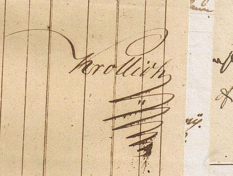 Eigenwillig-charakterstarke Unterschrift Krolligs 1850.
