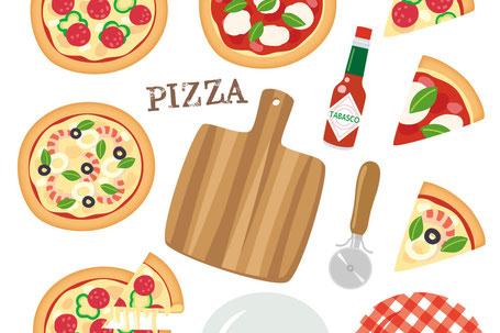 ピーマンを使ったピザ作り