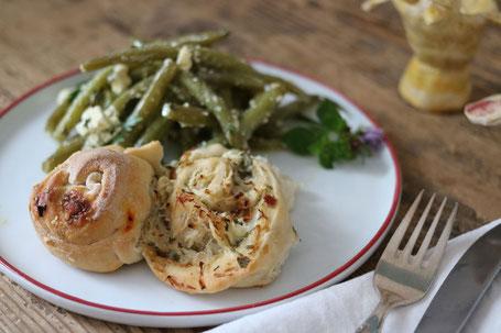 Krautschnecken mit Bohnensalat