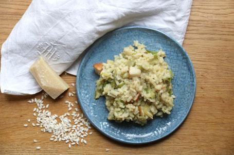Risotto mit Lauch, Gorgonzola und überreifen Birnen