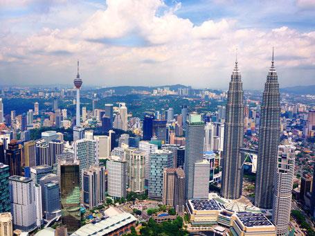 De bruisende hoofdstad Kuala Lumpur in West-Maleisie