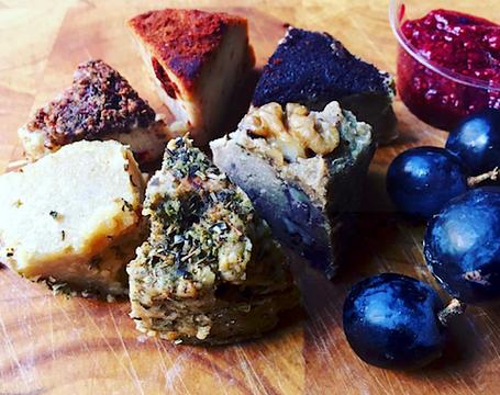 artisanal vegan cheese board from purezza