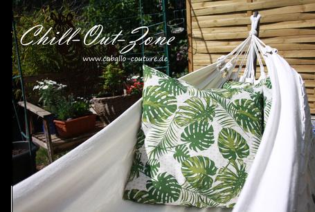 Dschungellook, Dschungelstyle, Caballo Couture, Kissen selber nähen, Gartendeko, Chill-Out-Zone Garten