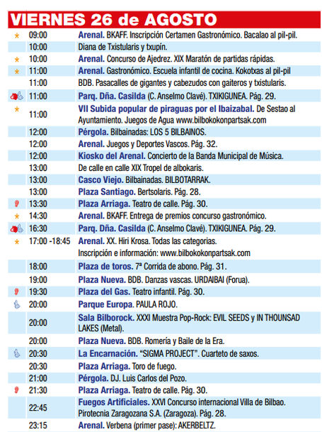 Bilbao Aste Nagusia 2016 Programa