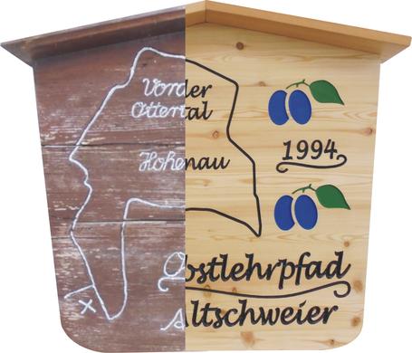 Holzschild aus alt mach neu Obstlehrpfad