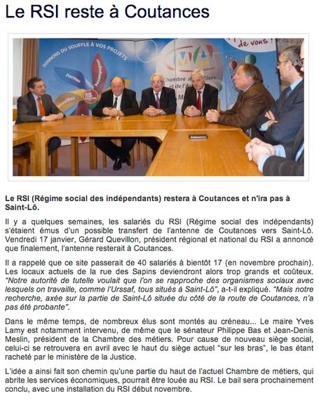 Vendredi 17 janvier, Gérard Quevillon a annoncé que l'antenne RSI resterait à Coutances (La Manche Libre, 20/01/2014)