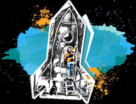 nextARTlevel - Junge malt Rakete an die Wand