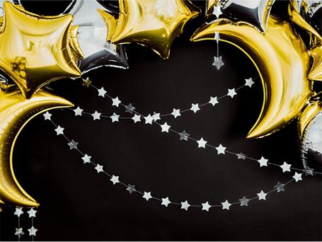 Girlande Sternengirlande Sterne Stern silber gold Folie Party Deko Dekoration Feier Silvester Neujahr Weihnachten Taufe Geburt Baby Vorhang