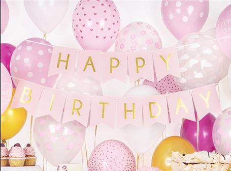 Happy Birthday Girlande Banner Deko Dekoration Aufhänger zum Aufhängen Ballons Geburtstag Feier Party Kindergeburtstag Mädchen Junge hellblau rosa blau elegant edel exklusiv Luftballon