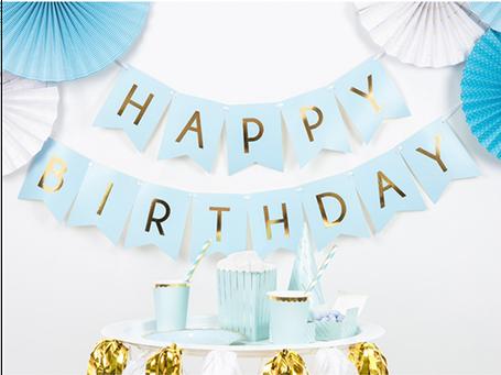 Happy Birthday Girlande Banner Deko Dekoration Aufhänger zum Aufhängen Ballons Geburtstag Feier Party Kindergeburtstag Mädchen Junge hellblau rosa blau elegant edel exklusiv