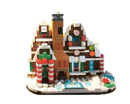 Sehr schöne Idee: Ein Pfefferkuchenhaus aus LEGO im Design des eid Evangelischer Immobilienverband Deutschland e.V.