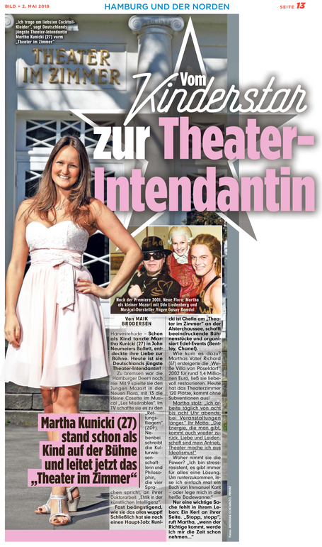 Presseartikel Theater im Zimmer Hamburg in der BILD Hamburg