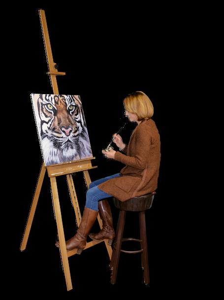 Maryleens Atelier Schilders ezel en olieverf schilderij huisdier
