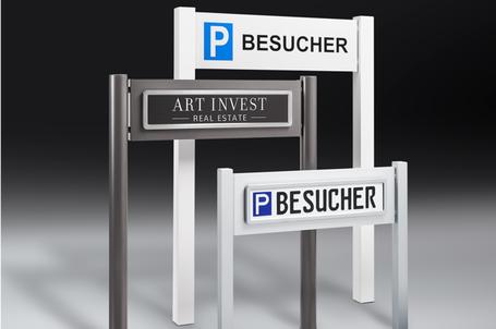 ParkSign construct Parkplatzschild, Parkplatz Schilder aus Edelstahl, Aluminium, Schilder gepraegt, Besucherschild, Kundenschild, Premium, Folierung, Edelstahlrahmen, poliert, gebuerstet, chrom, verchromt