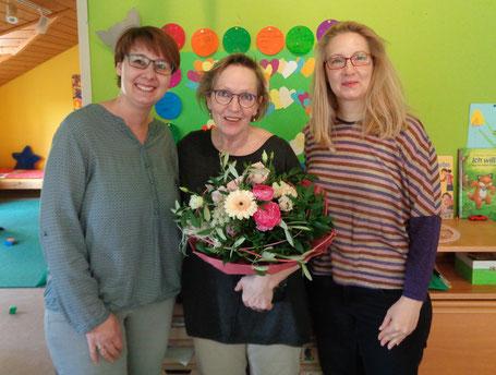 KiGa-Leiterin Tanja Kraus, Eva-Maria Wühr und Simone Prell-Kaatz (von links)