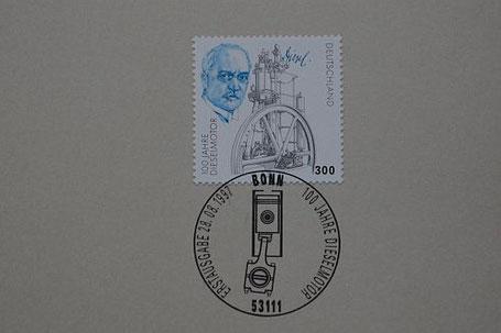 """3-M-Gedenkbriefmarke """"100 Jahre Dieselmotor"""" mit Ersttagsstempel vom 28.8.1997."""