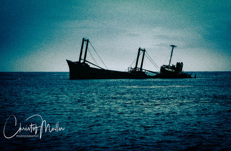"Wrecked freighter ""Polyxeni"" at the Silver Bank Sanctuary for Marine Mammals in Dominican Republic"