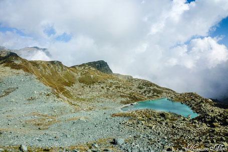 Il lago Chiaretto dal sentiero per il Rifugio Giacoletti