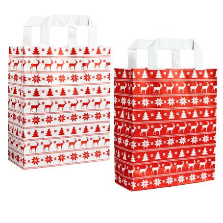 Papiertragetaschen für Weihnachten mit Norwegermuster in rot und weiß