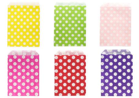 Papiertüten mit weißen Punkten in vielen Farben, Flachpapierbeutel