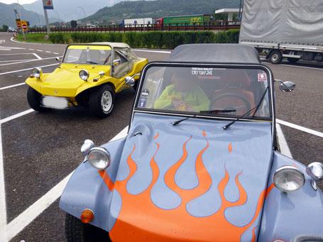 Buggy-on-Tour auf der Brenner-Autobahn, kurzer Zwischenstop