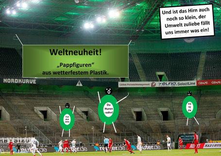 """Borussias Mönchengladbachs Geisterspiele mit """"Pappkameraden"""""""