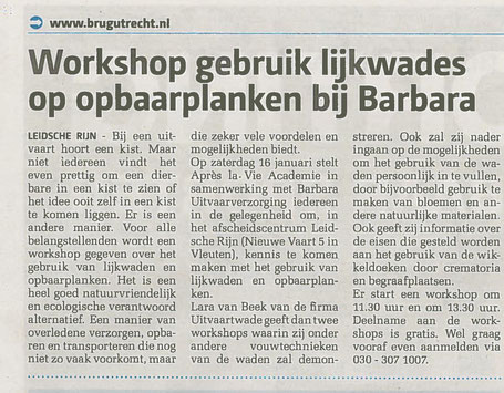 workshop lijkwades en opbaarplanken training