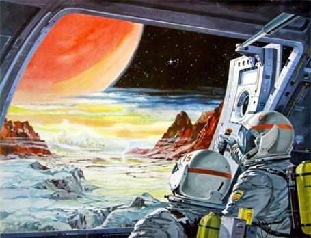 Science-Fiction-Illustration eines fremden Planeten
