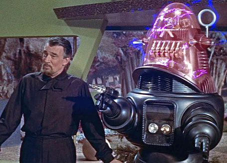 """Szenenfoto aus dem Film """"Alarm im Weltall"""" (Forbidden Planet, USA 1956) von Fred McLeod Wilcox; Robby the Robot"""