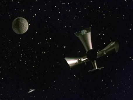 """Szenenfoto aus dem Film """"Warning from Space"""" (Uchujin Tokyo ni arawaru, Japan 1956) von Koji Shima; Raumschiff von Paira"""